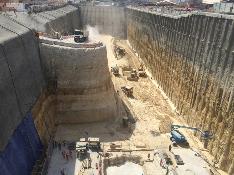 Excavation works & lateral support measures at Qatar National Museum Station