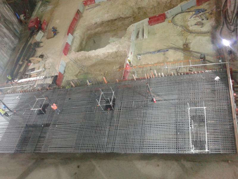 Installation of base slab reinforcement at Al Waab Station