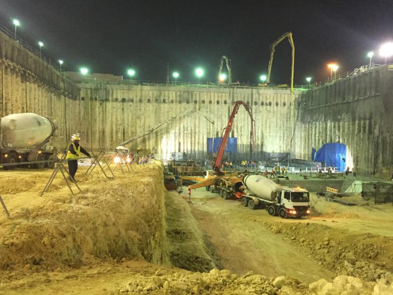 Concrete casting works for Ras Bu Abboud Station base slab